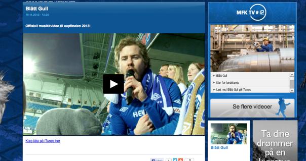 Årets cupfinalevideo markedsføres på Molde FKs hjemmeside. (Skjermdump)